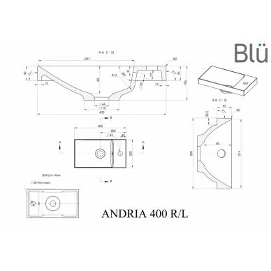 Akmens masės mažas praustuvas Blu ANDRIA 400 2