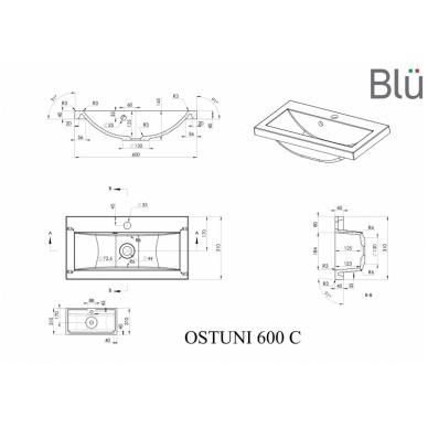 Akmens masės mažas praustuvas Blu OSTUNI 600 2