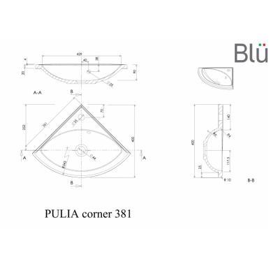 Akmens masės mažas praustuvas Blu PULIA CORNER 381 2
