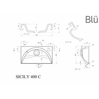 Akmens masės mažas praustuvas Blu SICILY 400 2