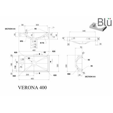 Akmens masės mažas praustuvas Blu VERONA 400 2