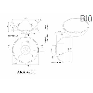 Akmens masės pastatomas praustuvas Blu ARA 420 3