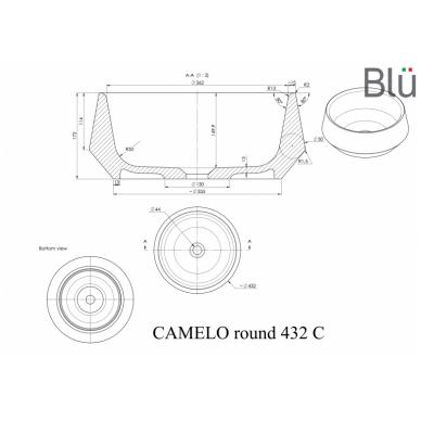 Akmens masės pastatomas praustuvas Blu CAMELO ROUND 4