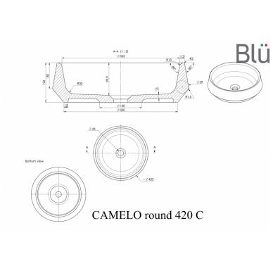 Akmens masės pastatomas praustuvas Blu CAMELO ROUND 3