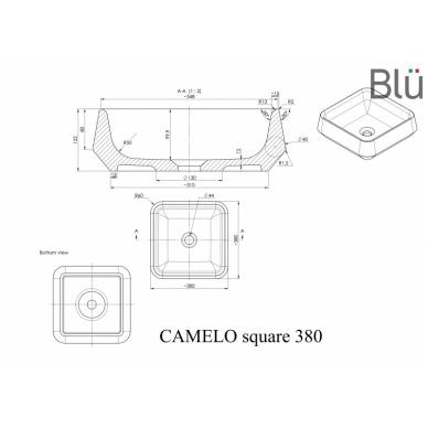 Akmens masės pastatomas praustuvas Blu CAMELO SQUARE 380x380 2