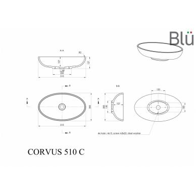 Akmens masės pastatomas praustuvas Blu CORVUS 510 2