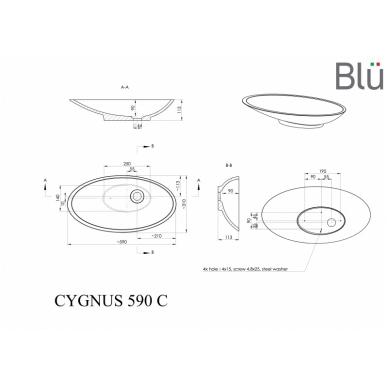 Akmens masės pastatomas praustuvas Blu CYGNUS 590 2