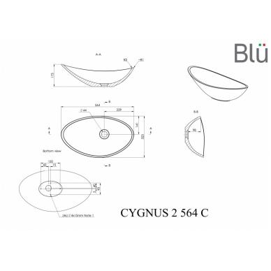 Akmens masės pastatomas praustuvas Blu CYGNUS II 564 2