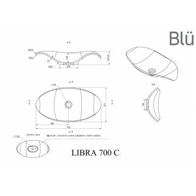 Akmens masės pastatomas praustuvas Blu LIBRA 700 2