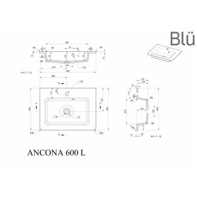 Akmens masės praustuvas Blu ANCONA 2