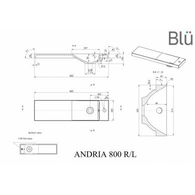 Akmens masės praustuvas Blu ANDRIA 800 2