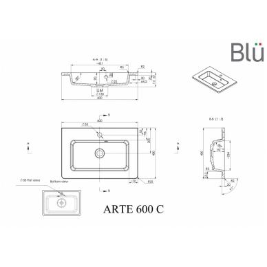 Akmens masės praustuvas Blu ARTE 2