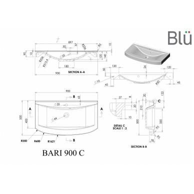 Akmens masės praustuvas Blu BARI 2