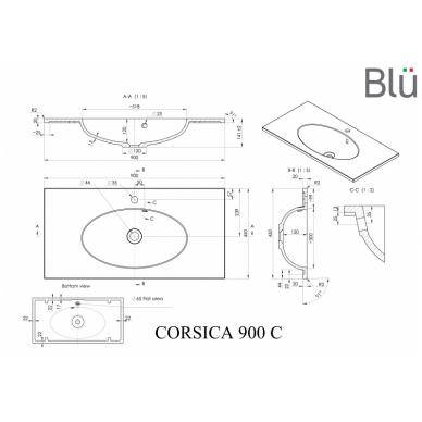 Akmens masės praustuvas Blu CORSICA 3