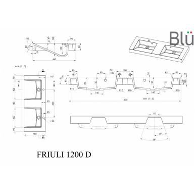 Akmens masės praustuvas Blu FRIULI 7