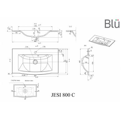 Akmens masės praustuvas Blu JESI 3