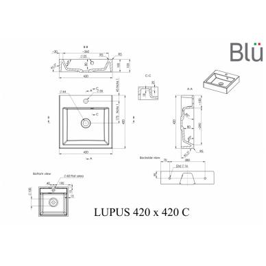 Akmens masės praustuvas Blu LUPUS 3