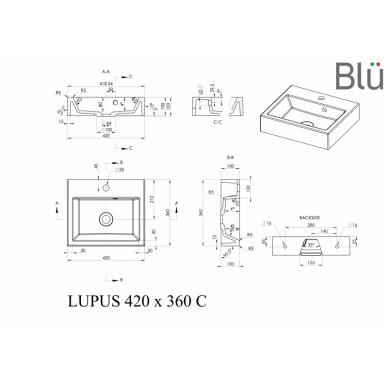 Akmens masės praustuvas Blu LUPUS 2