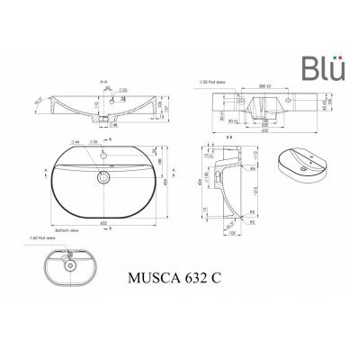 Akmens masės praustuvas Blu MUSCA 632 2