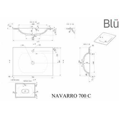 Akmens masės praustuvas Blu NAVARRO 5