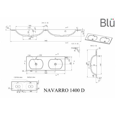 Akmens masės praustuvas Blu NAVARRO 9