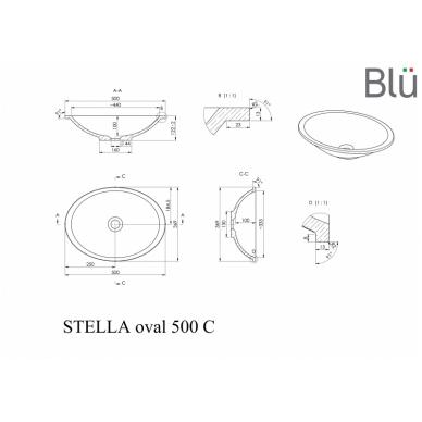 Akmens masės praustuvas Blu STELLA OVAL 500 3