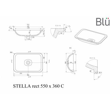 Akmens masės praustuvas Blu STELLA RECT 3