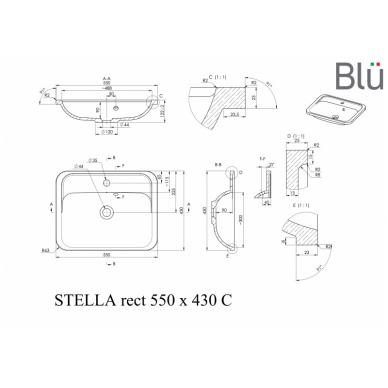 Akmens masės praustuvas Blu STELLA RECT II 2