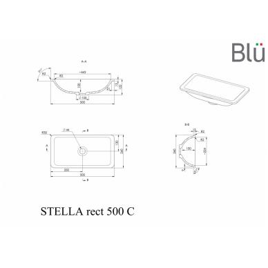 Akmens masės praustuvas Blu STELLA RECT 2