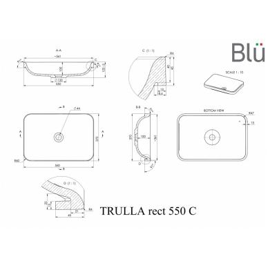 Akmens masės praustuvas Blu TRULLA RECT 2