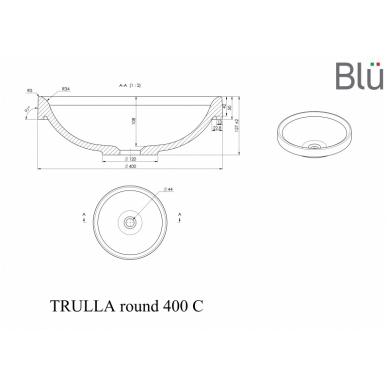 Akmens masės praustuvas Blu TRULLA ROUND 400 2