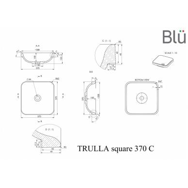 Akmens masės praustuvas Blu TRULLA SQUARE 370x370 2