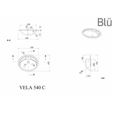 Akmens masės praustuvas Blu VELA 530 2