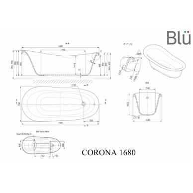 Akmens masės retro vonia Blu CORONA 1680 Evermite 2