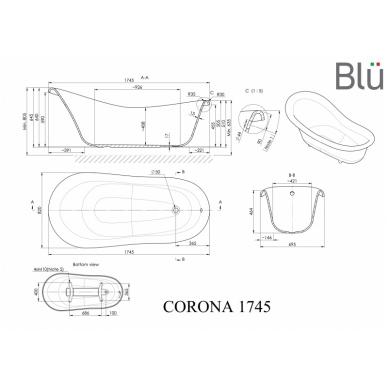Akmens masės retro vonia Blu CORONA 1745 Evermite 2