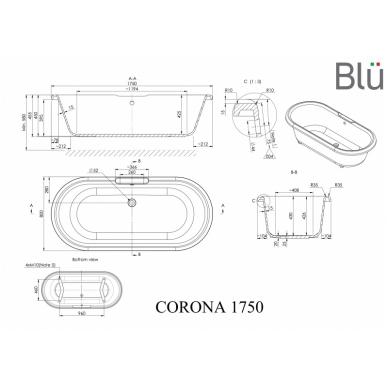 Akmens masės retro vonia Blu CORONA 1750 Evermite 2