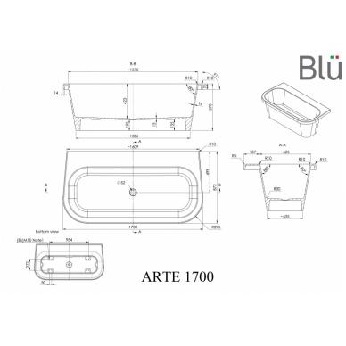 Akmens masės vonia Blu ARTE 1700 Evermite 3