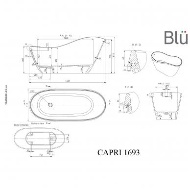 Akmens masės vonia Blu CAPRI 1693 Evermite su persipylimu 4