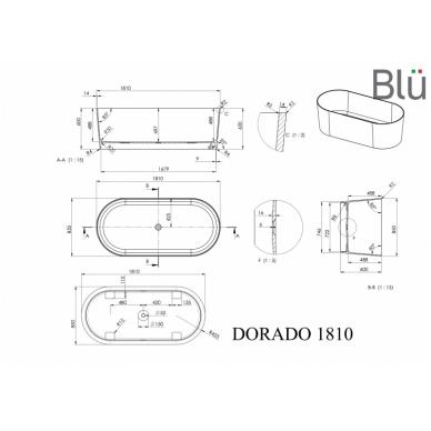 Akmens masės vonia Blu DORADO 1810 Evermite 2
