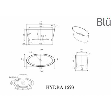 Akmens masės vonia Blu HYDRA 1600 Evermite 2