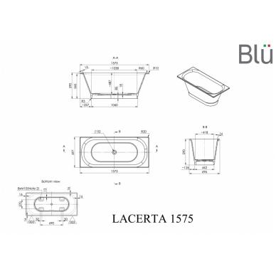 Akmens masės vonia Blu LACERTA 1575 Evermite 2
