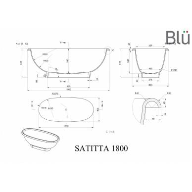 Akmens masės vonia Blu SATITTA 1810 Evermite 2