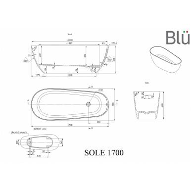 Akmens masės vonia Blu SOLE 1700 Evermite su persipylimu 2