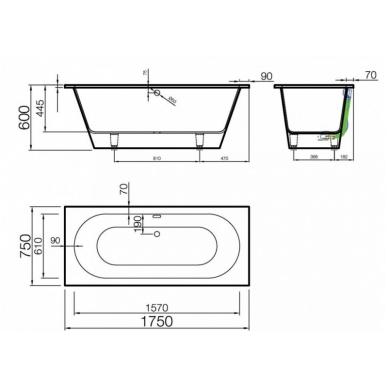 Akmens masės vonia EVENTO 1 VISPOOL 2