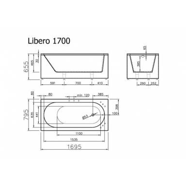 Akmens masės vonia LIBERO VISPOOL 3