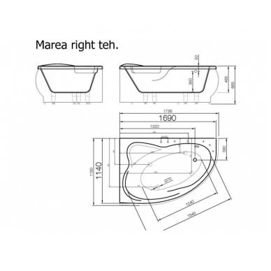 Akmens masės vonia MAREA VISPOOL su uždanga 3