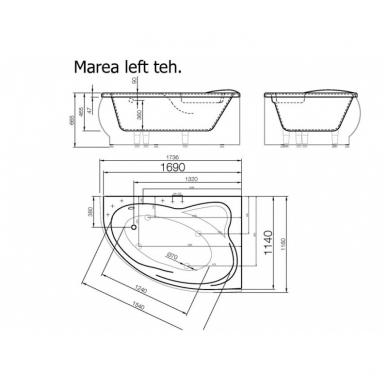 Akmens masės vonia MAREA VISPOOL su uždanga 4
