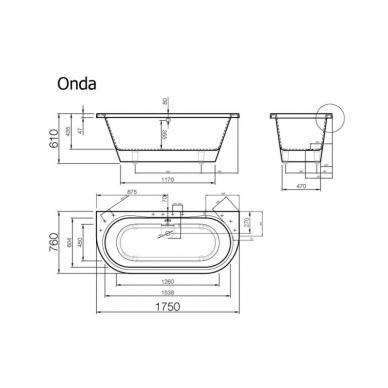 Akmens masės vonia ONDA VISPOOL 3