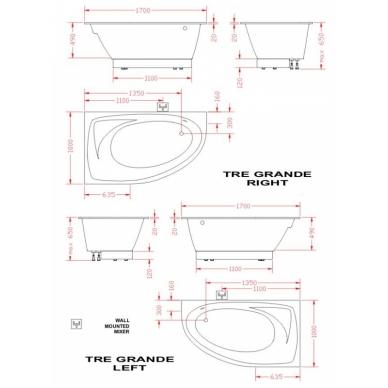 Akmens masės vonia PAA TRE GRANDE 170x100 3