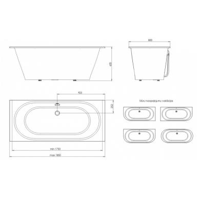 Akmens masės vonia PAA VARIO GRANDE 185x80 2